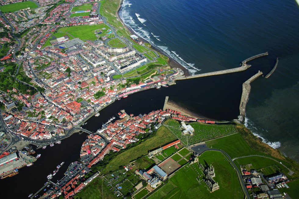 Aerial view of breakwaters and lower harbour Whitby